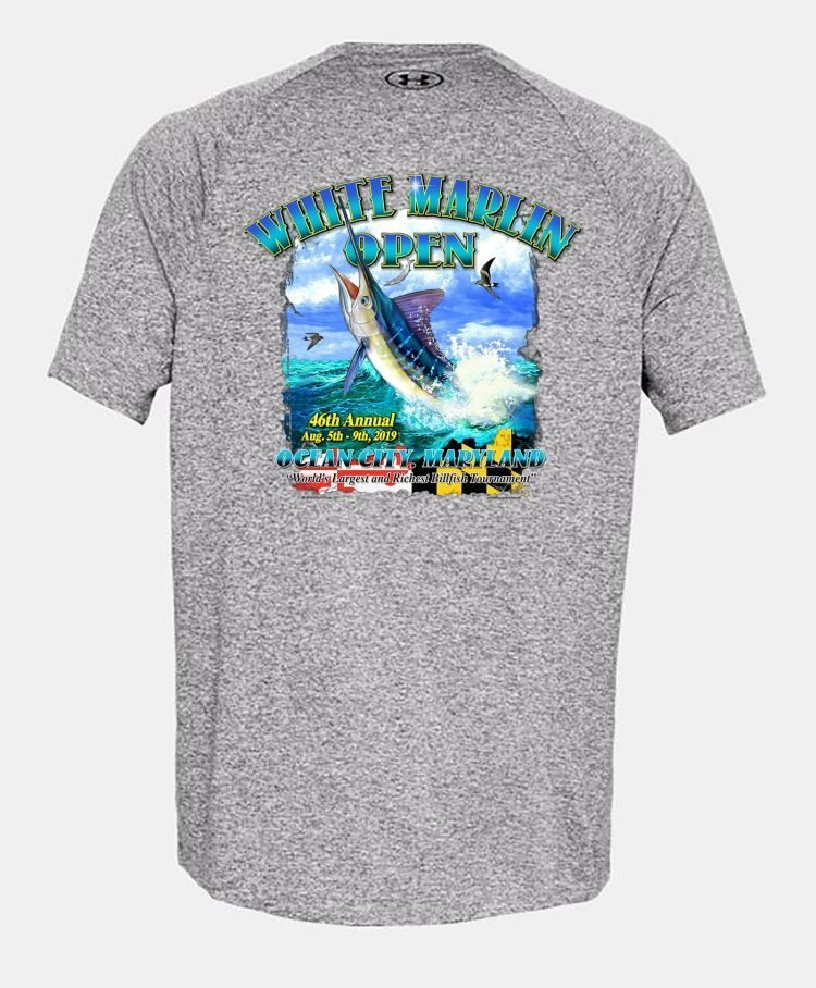 gray white marlin t-shirt