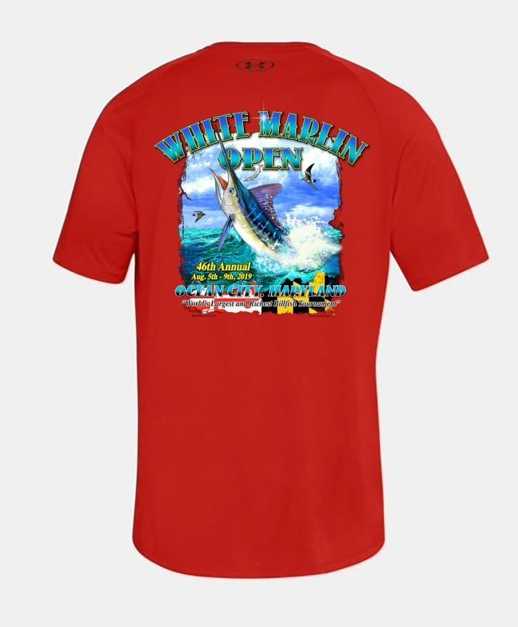 red white marlin shirt