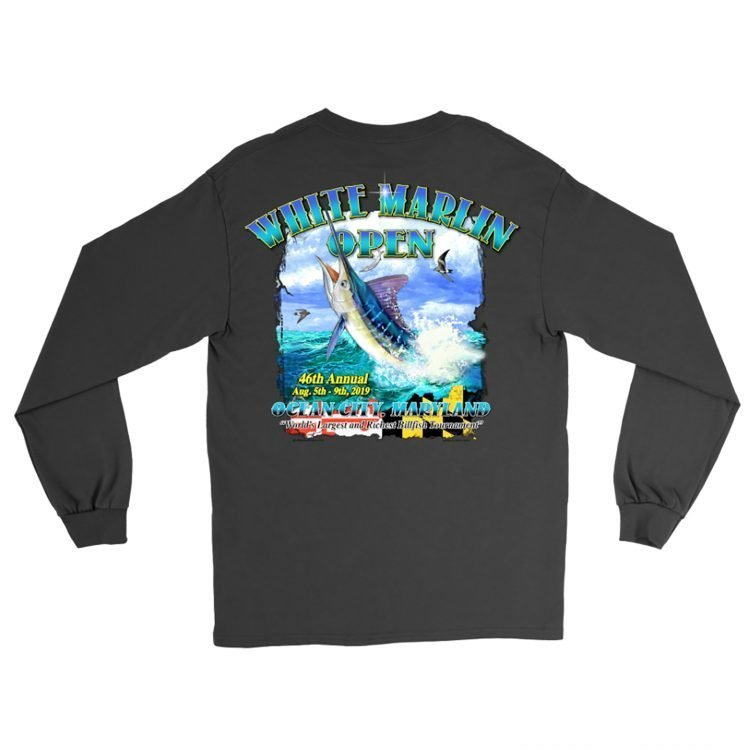 black white marlin shirt