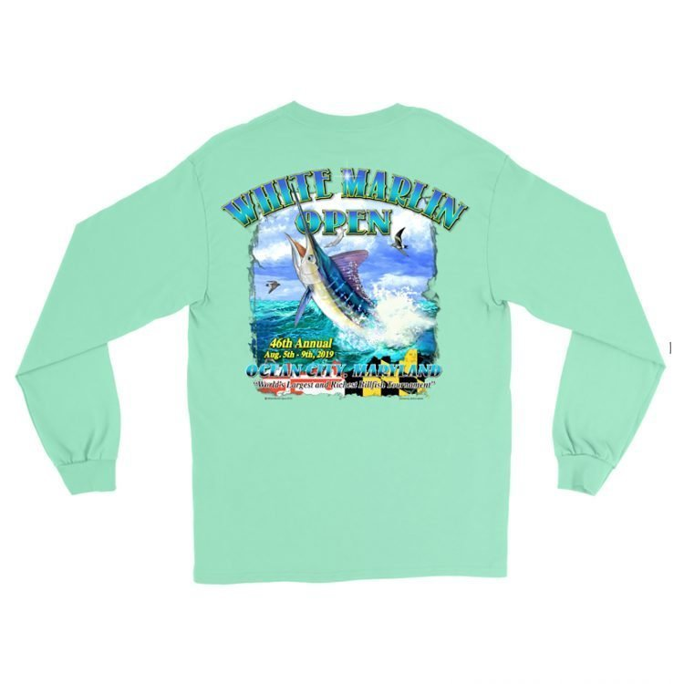 green long white marlin shirt