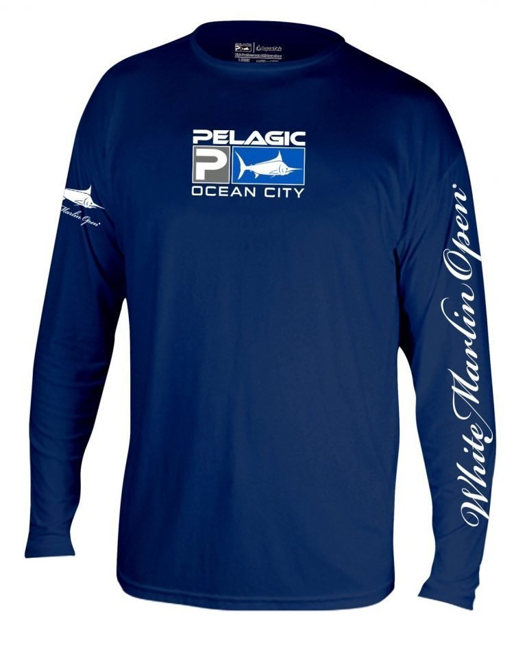 blue long white marlin shirt