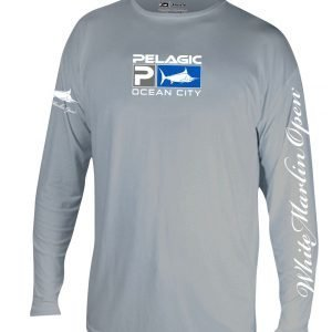 grey long shirt white marlin