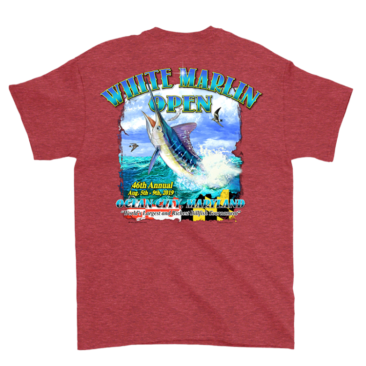 red white marlin t-shirt