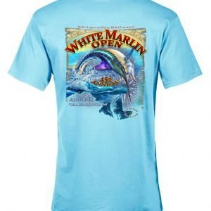 blue t-shirt white marlin