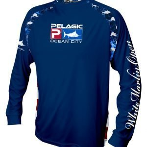 navy long sleeve white marlin